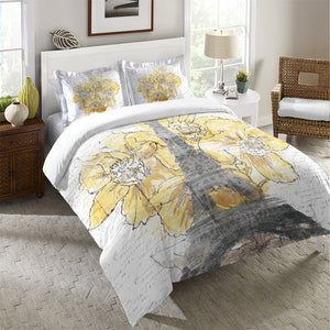 Daffodil Blooms Eiffel Tower Duvet Cover