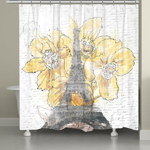 Daffodil Blooms Eiffel Tower Shower Curtain