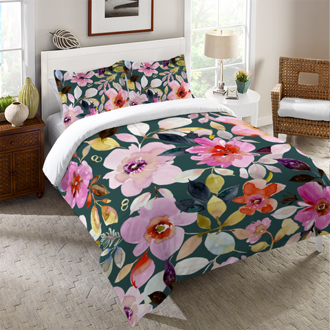 Deep Flora Duvet Cover