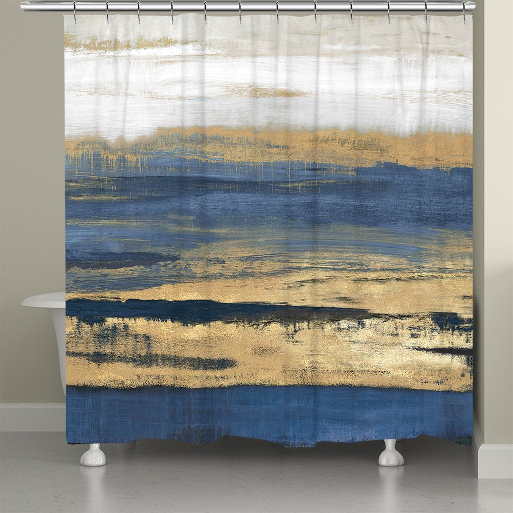 Deep Shades Of Blue Abstract Shower Curtain Laural Home