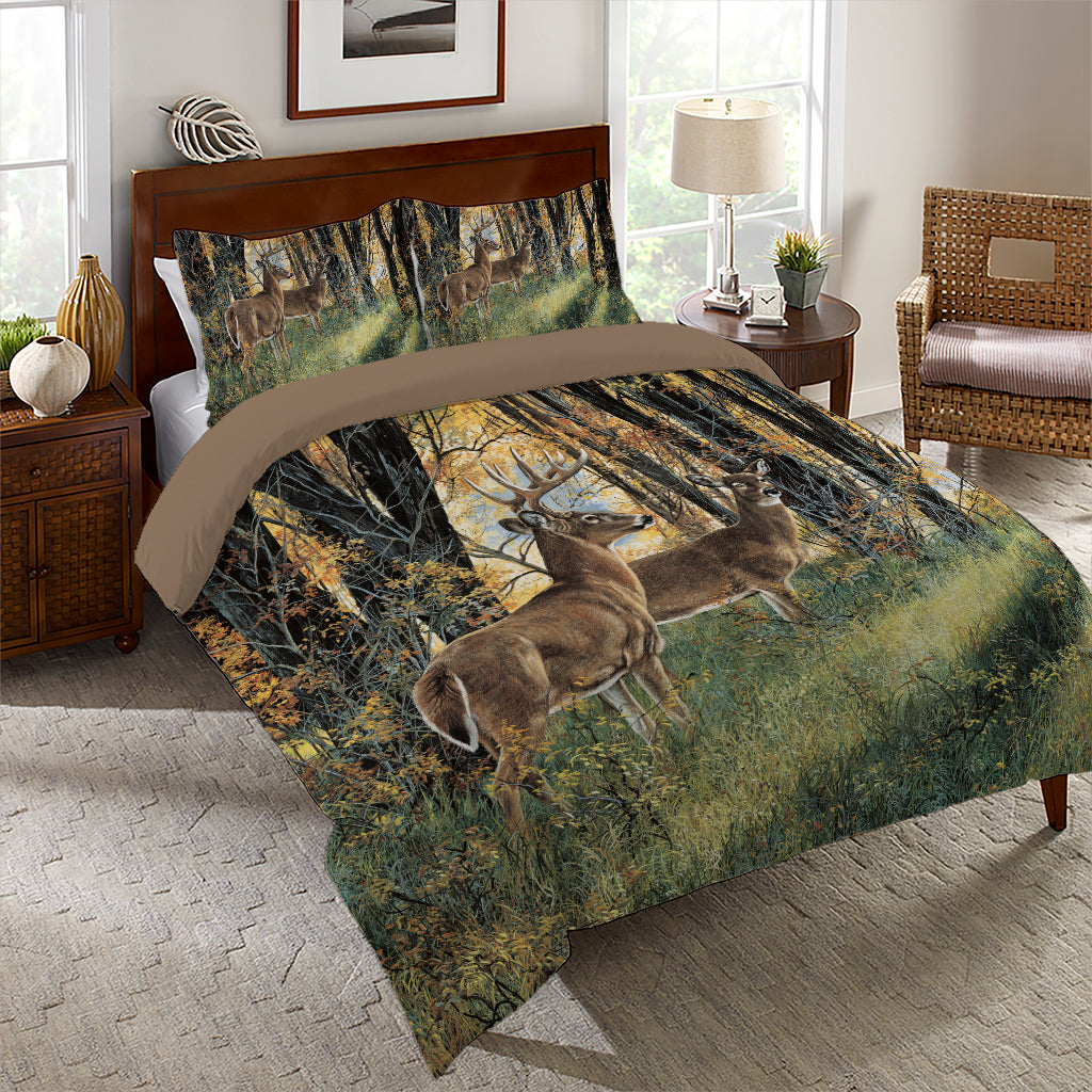 Deer In Autumn Light Comforter Set