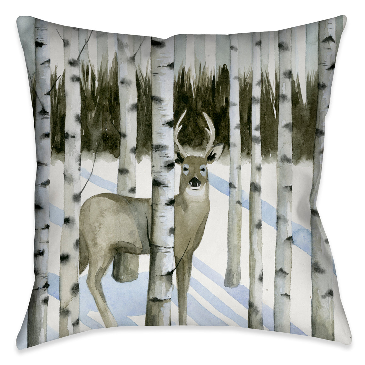 "The ""Deer in Snowfall I"" pillow features a snowy scene where a deer appears amongst a beautifully rendered birch tree landscape. This design will suit anyone who has a sophisticated appreciation for nature."