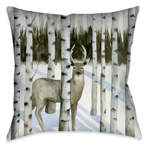 Deer in Snowfall I Outdoor Decorative Pillow