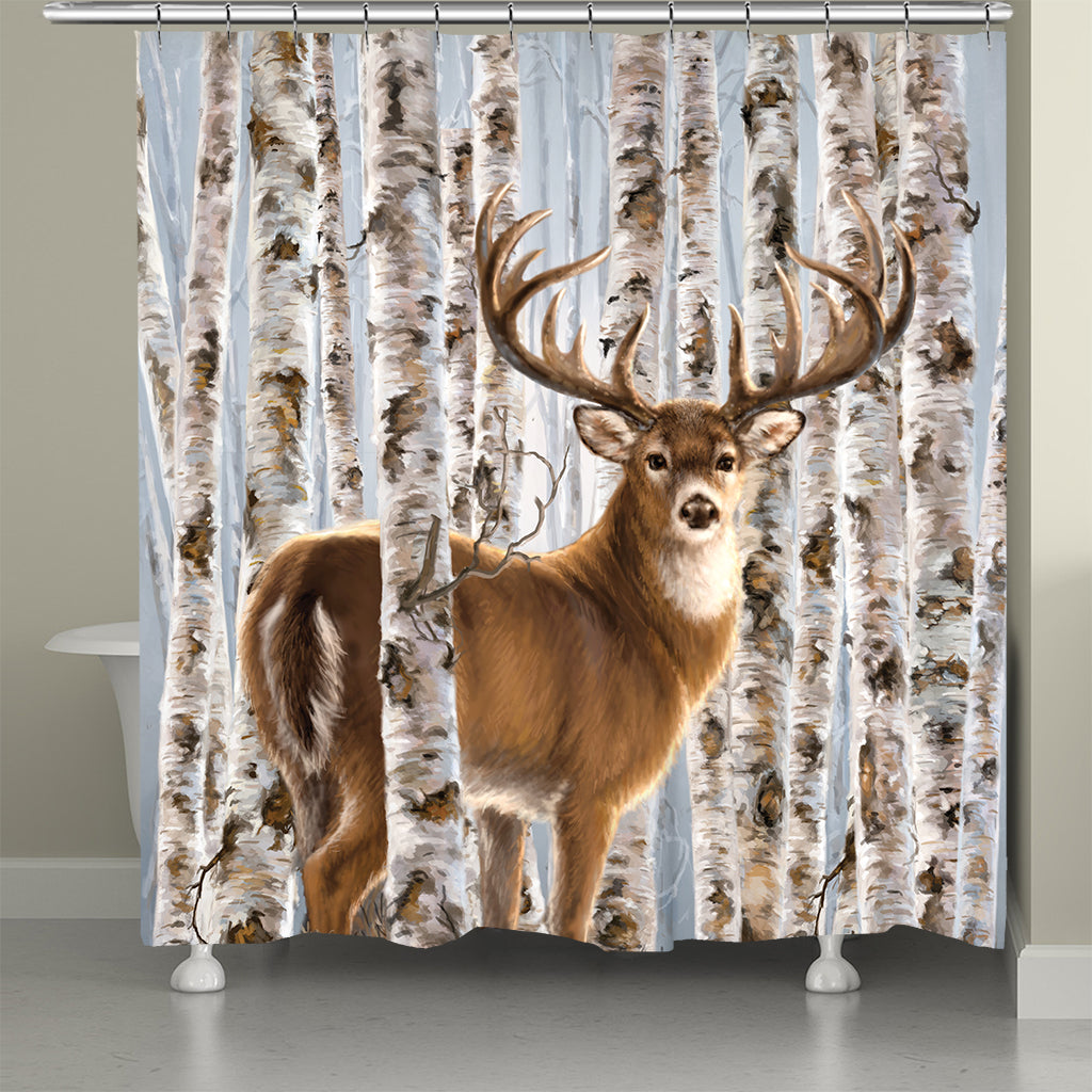 Buck In Birches Shower Curtain