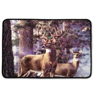 deer in forest nylon accent rug