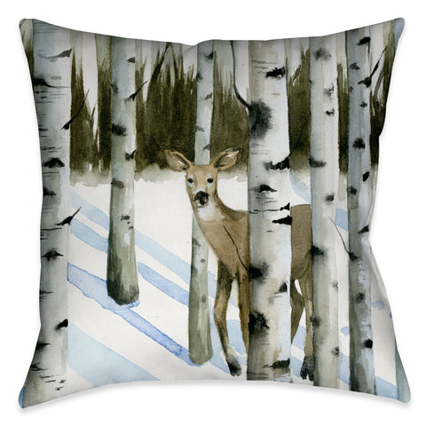 Deer in Snowfall II Indoor Decorative Pillow