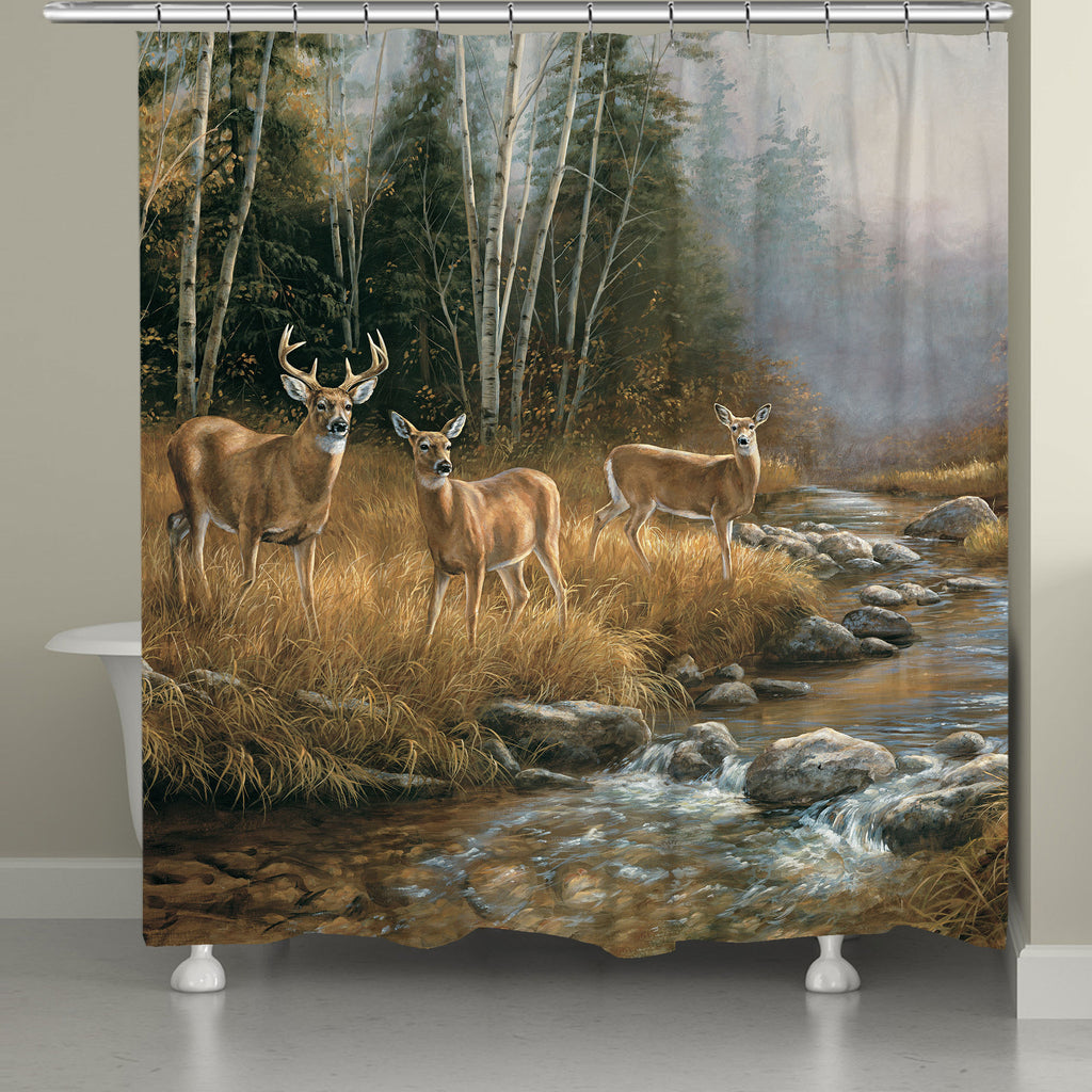 Wild Whitetail Deer Family Shower Curtain