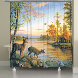 Deer on Sunset Lake Shower Curtain