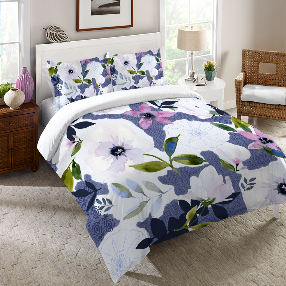 Denim Floral Collage Duvet Cover