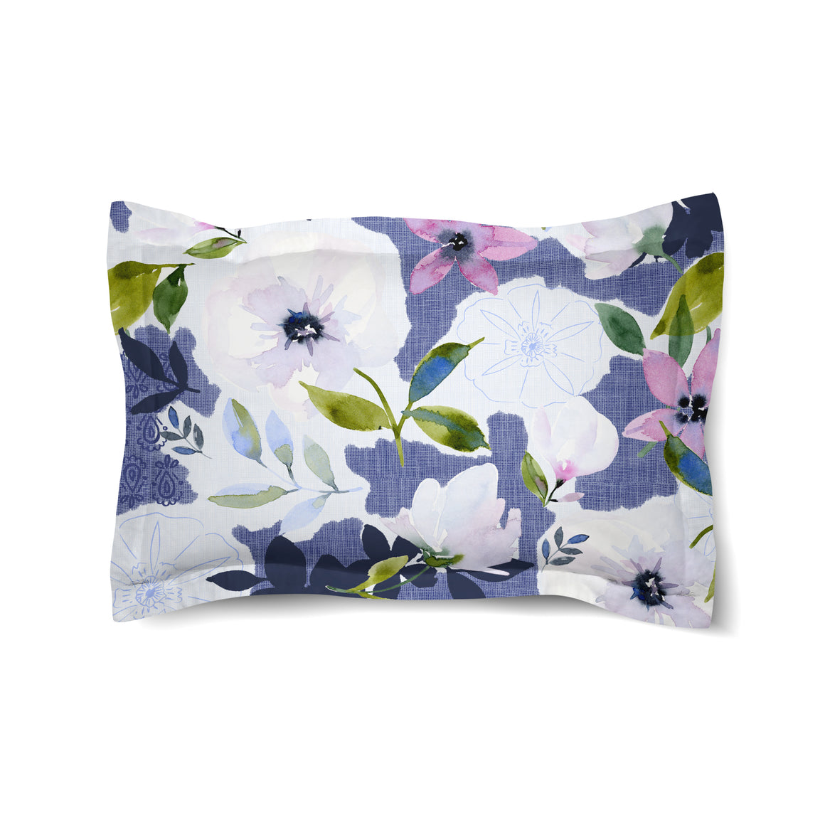 Denim Floral Collage Duvet Sham