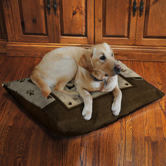 "Dog's Opinion 30"" x 40"" Fleece Dog Bed features a relatable saying for any dog owner amongst paw-prints set in neutral browns."