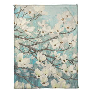 Dogwood Blossoms Fleece Throw - Fleece Throw - Wild Apple - Laural Home