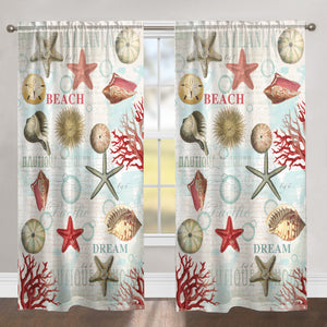 Dream Beach Shells Sheer Window Panel