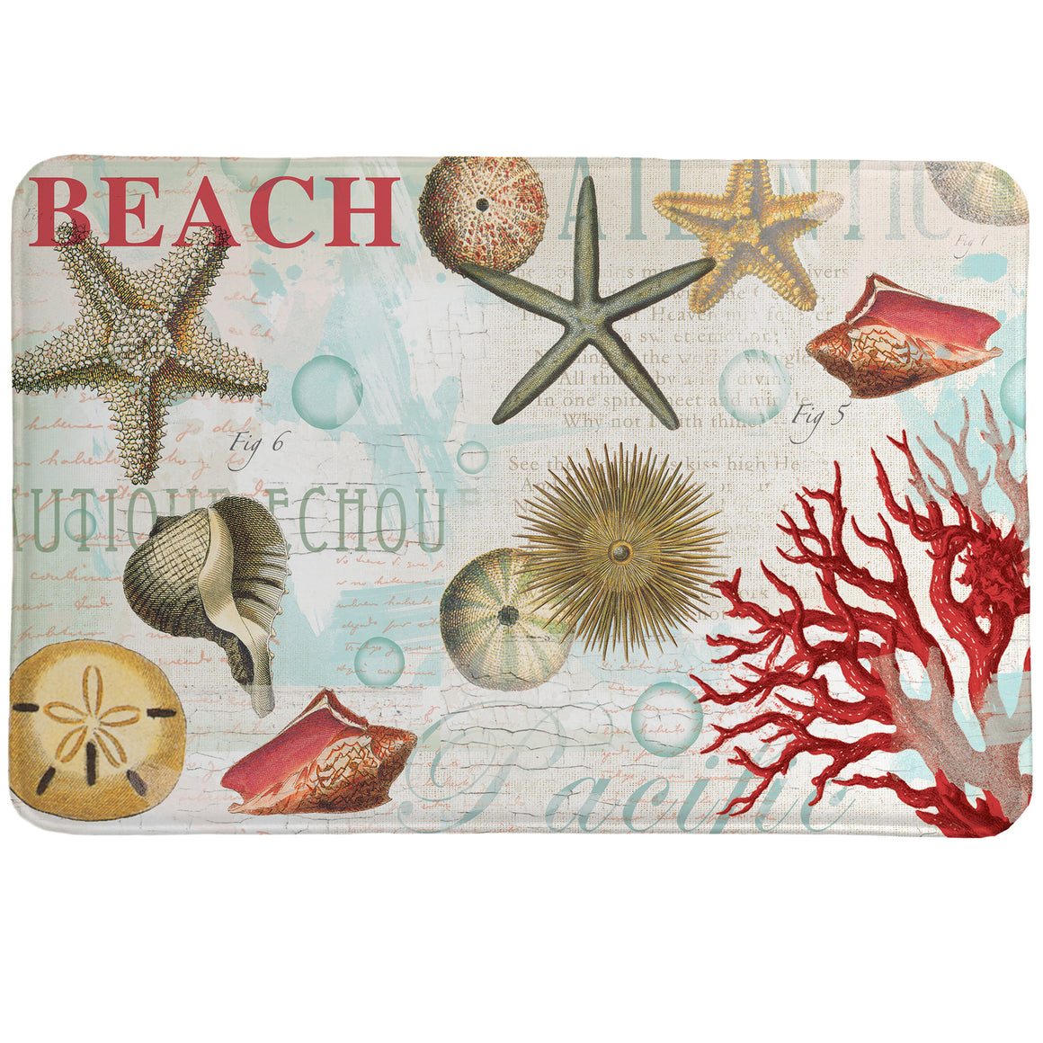 Dream Beach Shells Memory Foam Rug features finely drawn shells and coral are scattered among bubbles.