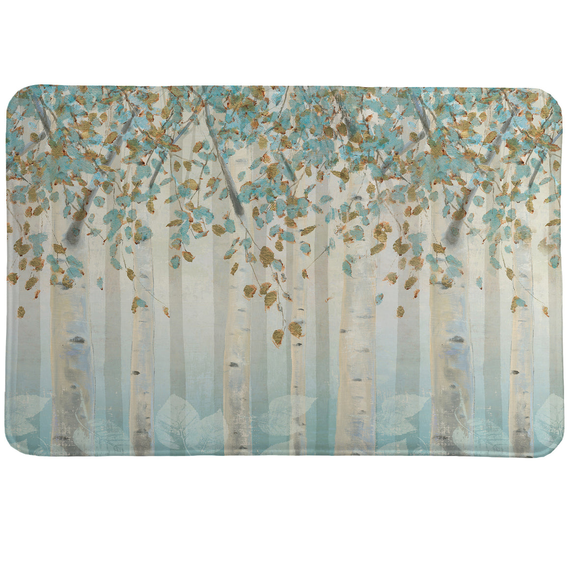 Dream Forest Memory Foam Rug shows a beautiful light blue forest of birch trees.