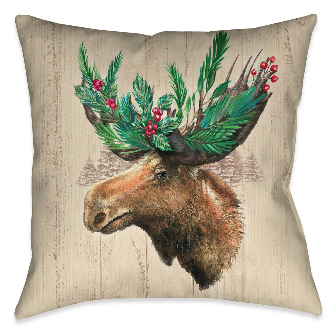 Holiday Moose Indoor Decorative Pillow