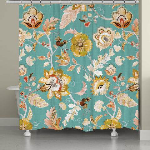 Folk Floral Shower Curtain