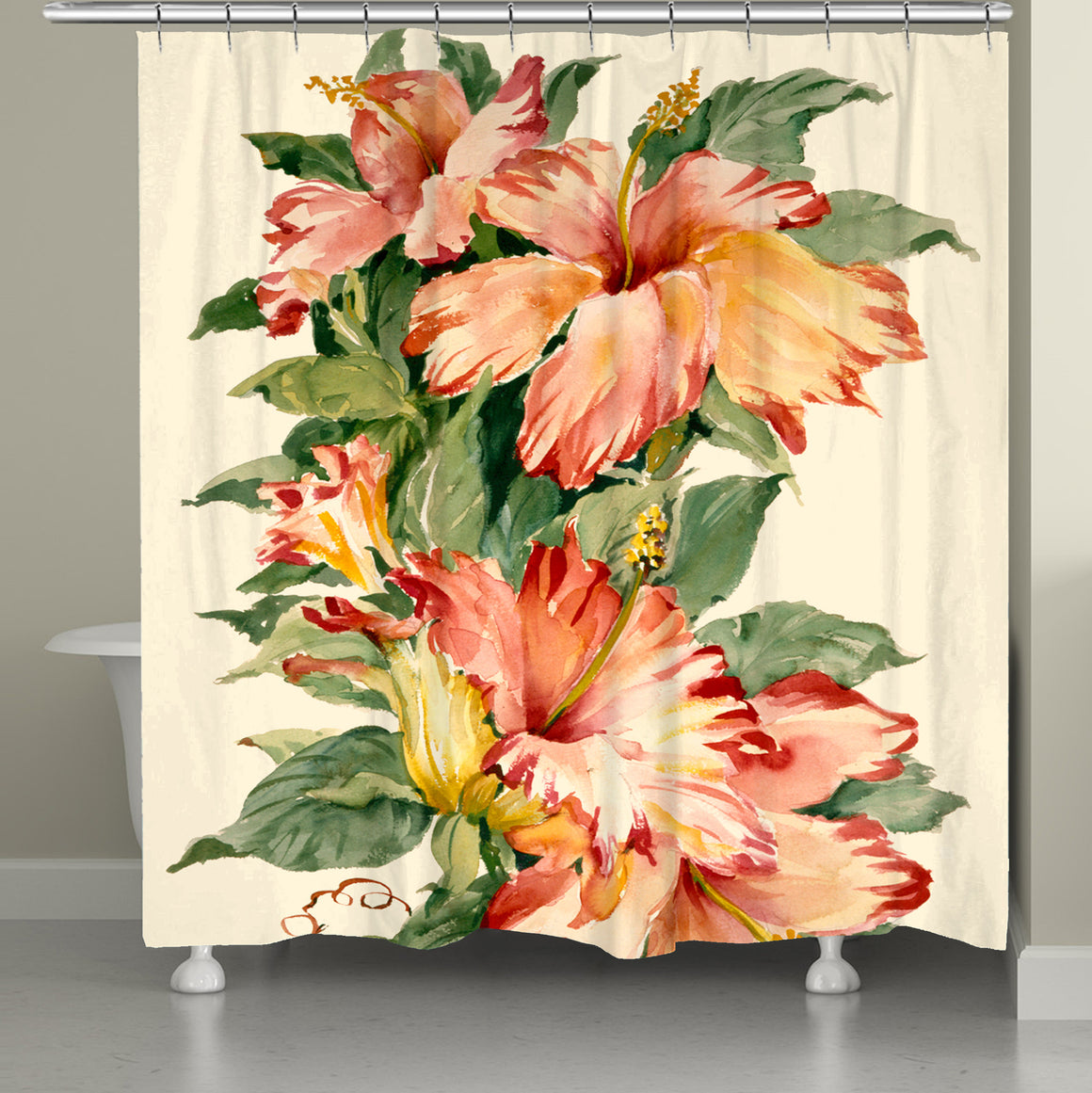 Elegant Red Tiger Hibiscus Shower Curtain