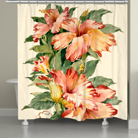 Elegant Red Tropical Hibiscus Shower Curtain