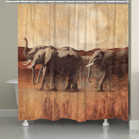 Elephant March Shower Curtain