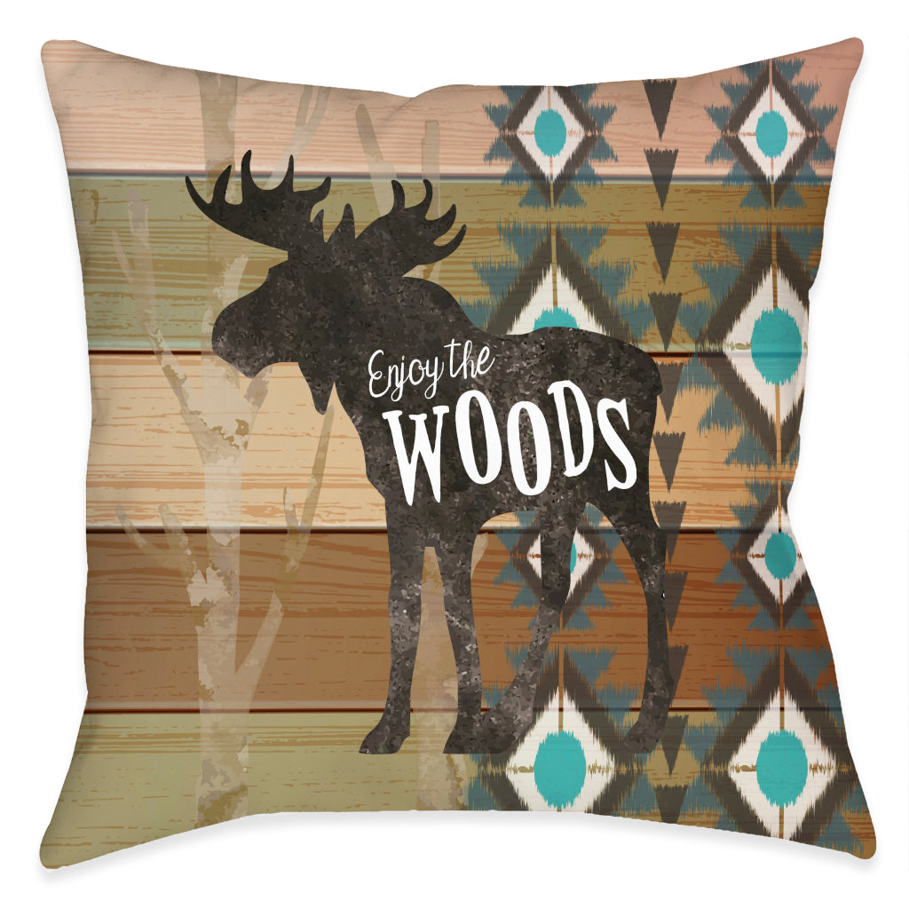 Enjoy the Woods Outdoor Decorative Pillow