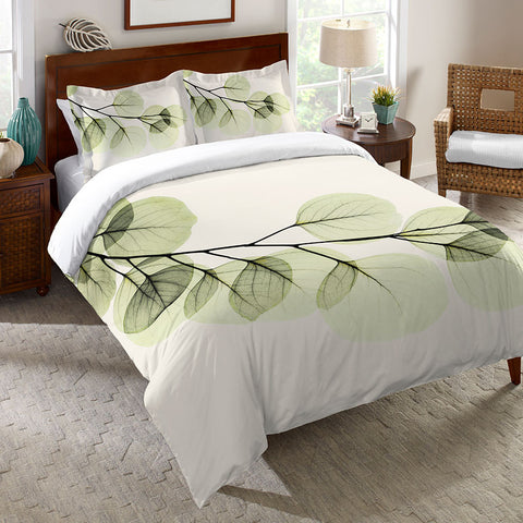 Green X-Ray of Eucalyptus Leaves Duvet Cover