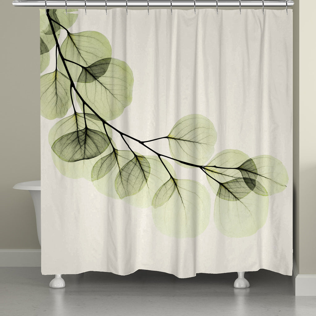 Green X-Ray of Eucalyptus Leaves Shower Curtain – Laural Home