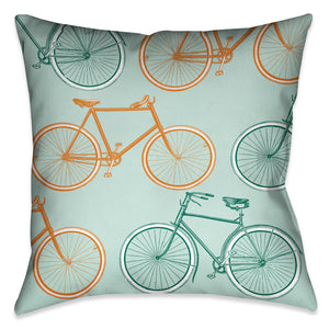 Postcard From Europe Bikes Pillow