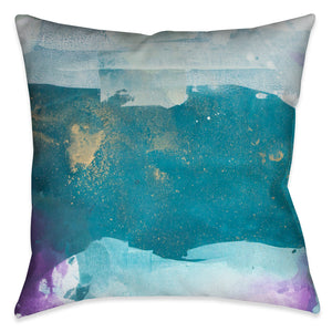The abstract design on this Indoor Decorative Pillow evokes a unique artistic quality of exquisite strokes of blue, turquoise and purple with gold-like accent colors.
