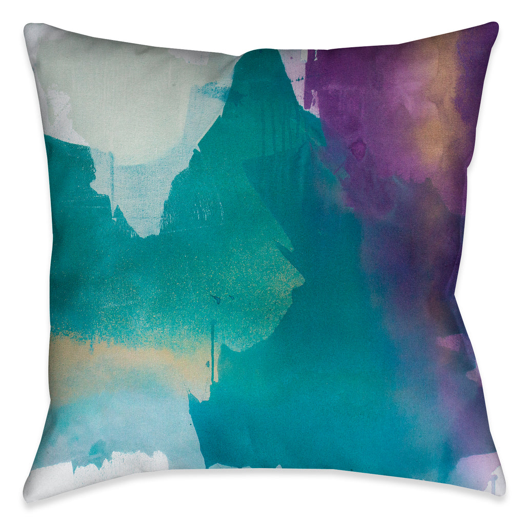 The abstract design on this Indoor Decorative Pillow evokes a unique artistic quality of exquisite strokes of blue, turquoise and purple jewel-tones with gold-like accent colors.