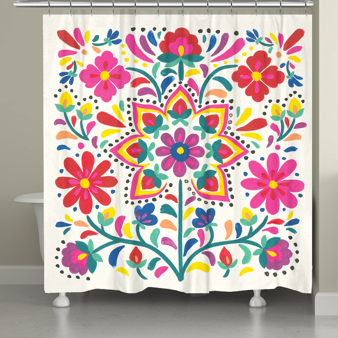 This beautiful folk-art inspired motif features pops of vibrant colorful flowers displayed on a off-white background.
