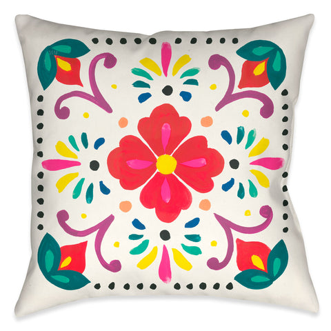 Folk Art Floral VI Outdoor Decorative Pillow