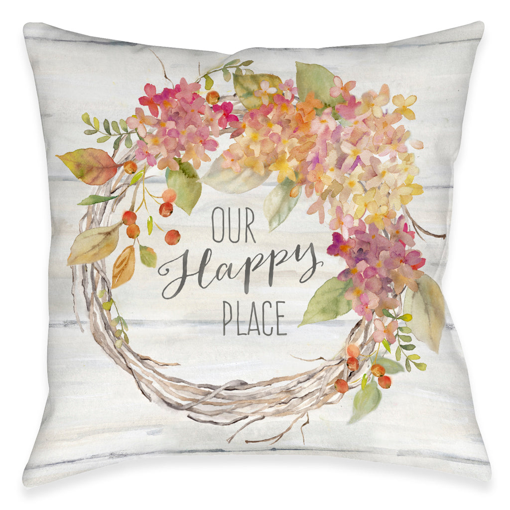 Our Happy Place Outdoor Decorative Pillow