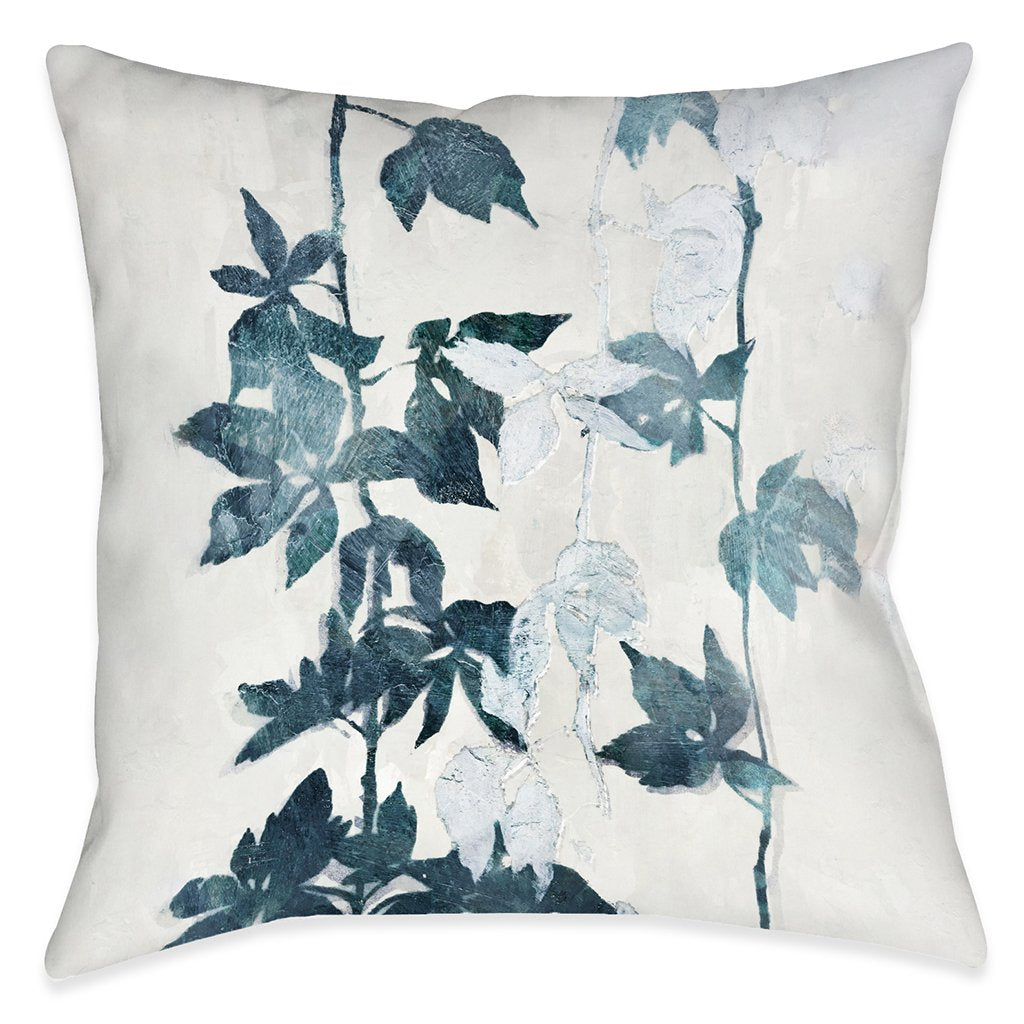 Falling Blue Vines Outdoor Decorative Pillow