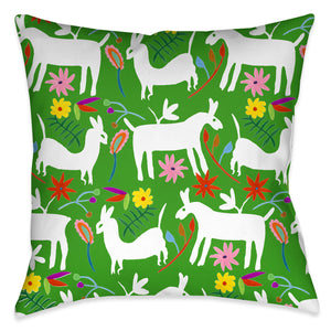 "The ""Folk Art Whimsy IV"" outdoor decorative pillow, celebrates inspired motifs from the Otomi region of Mexico. The pops of color in the floral and lama imagery against the white background enhances the festive traditional aesthetic and vibrancy of these culturally inspired motifs, exposing a sophisticated balance of color and movement that is sure to bring liveliness to any living space!"