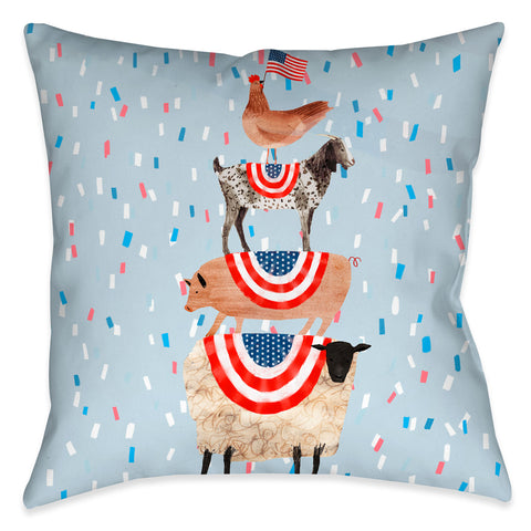 Americana Stacked Animals Outdoor Decorative Pillow