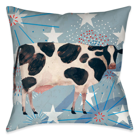 Americana Cow Outdoor Decorative Pillow