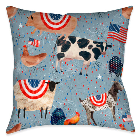 Americana Farm Animals Outdoor Decorative Pillow