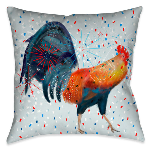 Americana Rooster Outdoor Decorative Pillow