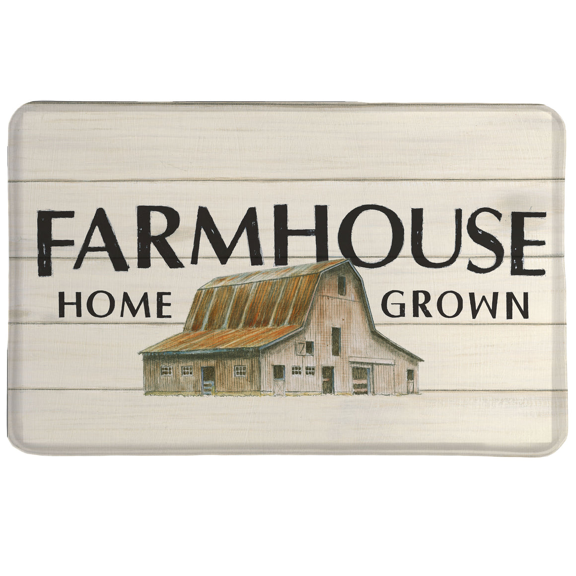 Farm Home Grown Memory Foam Rug portrays an artist painting of a barn over a distressed wood panel background