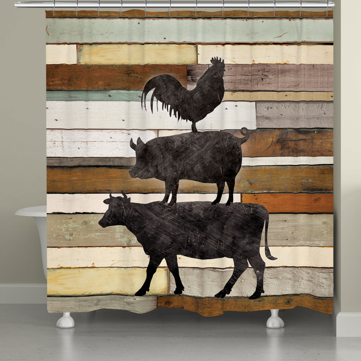 Shiplap Stacked Farm Animals Shower Curtain