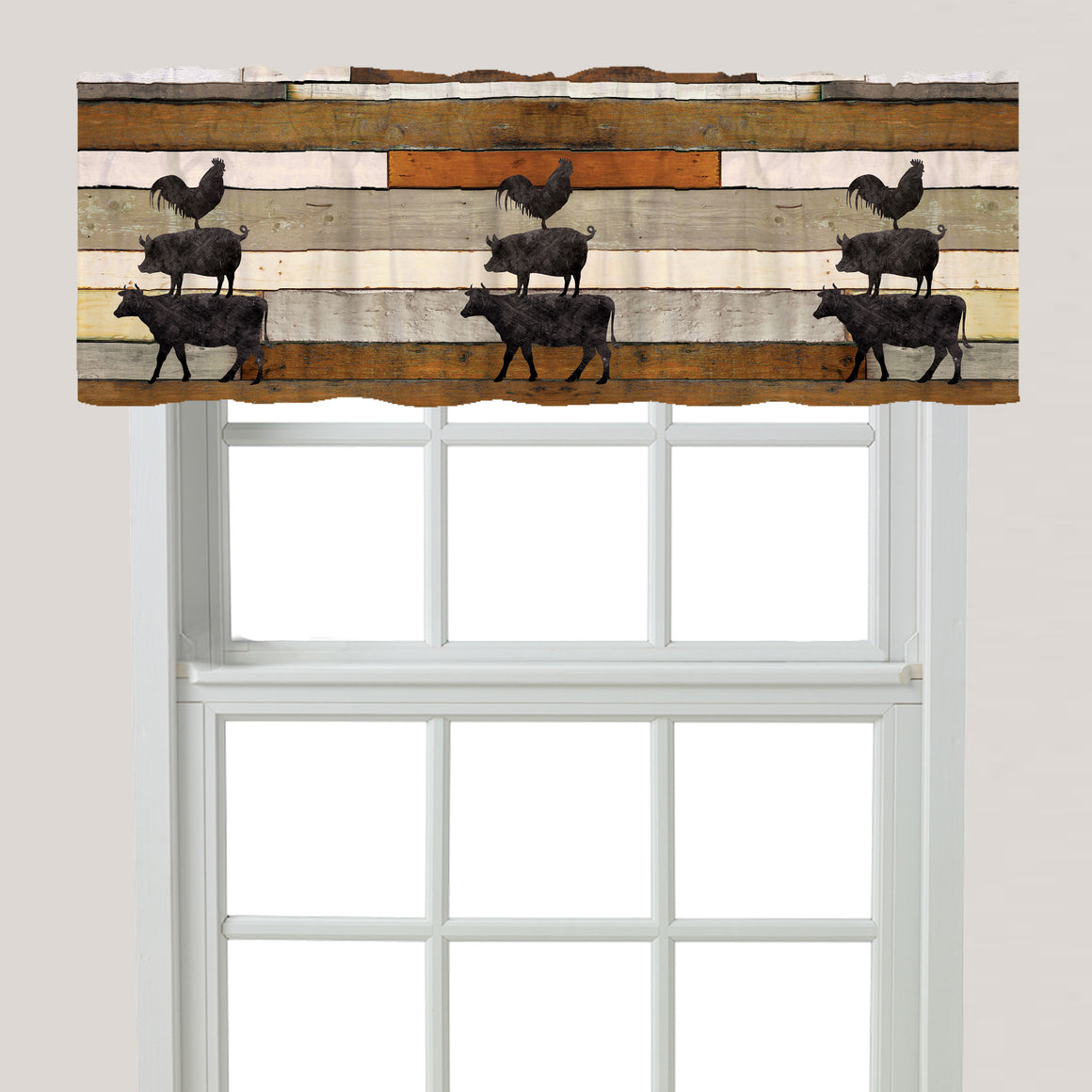 Shiplap Stacked Farm Animals Window Valance