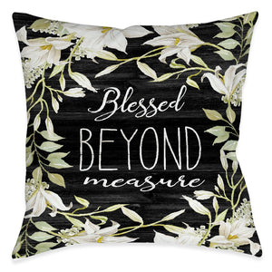 Farmhouse Florals Blessed Outdoor Decorative Pillow