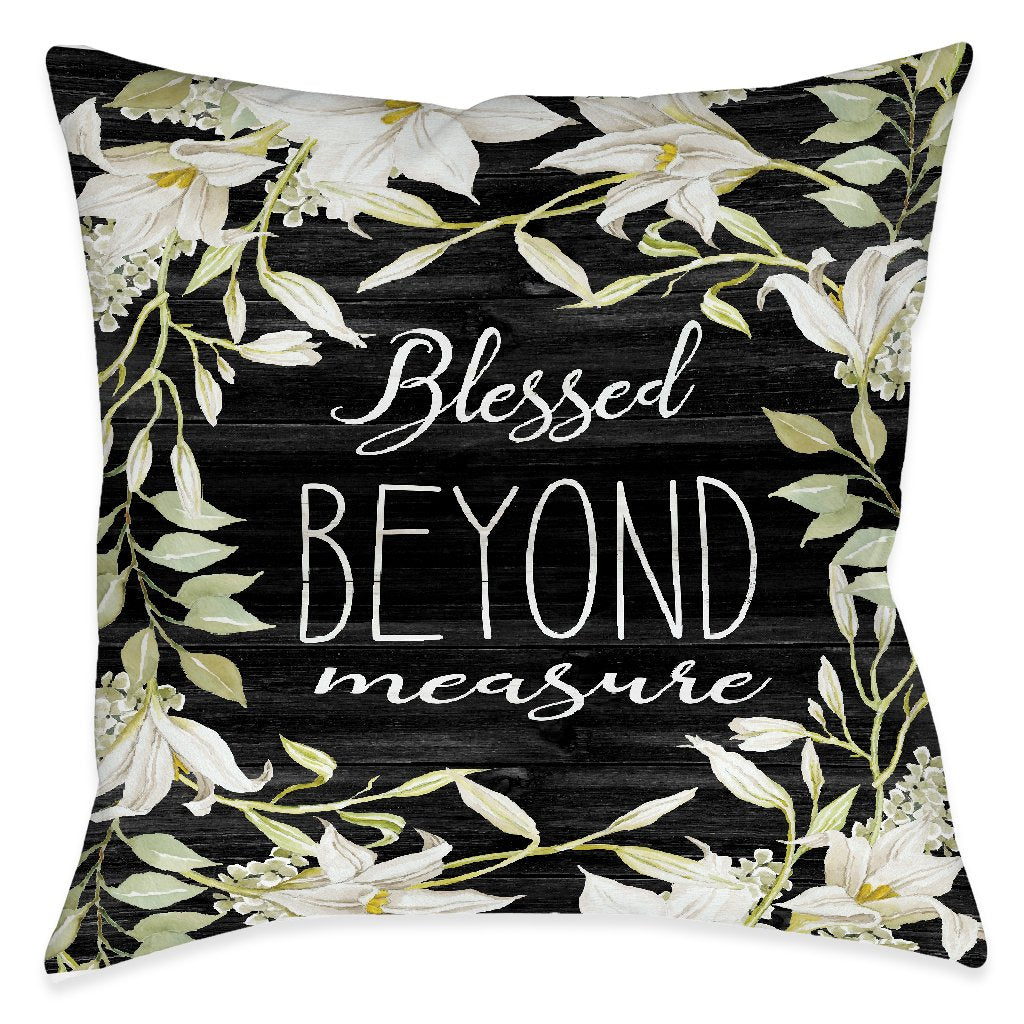 Farmhouse Florals Blessed Indoor Decorative Pillow