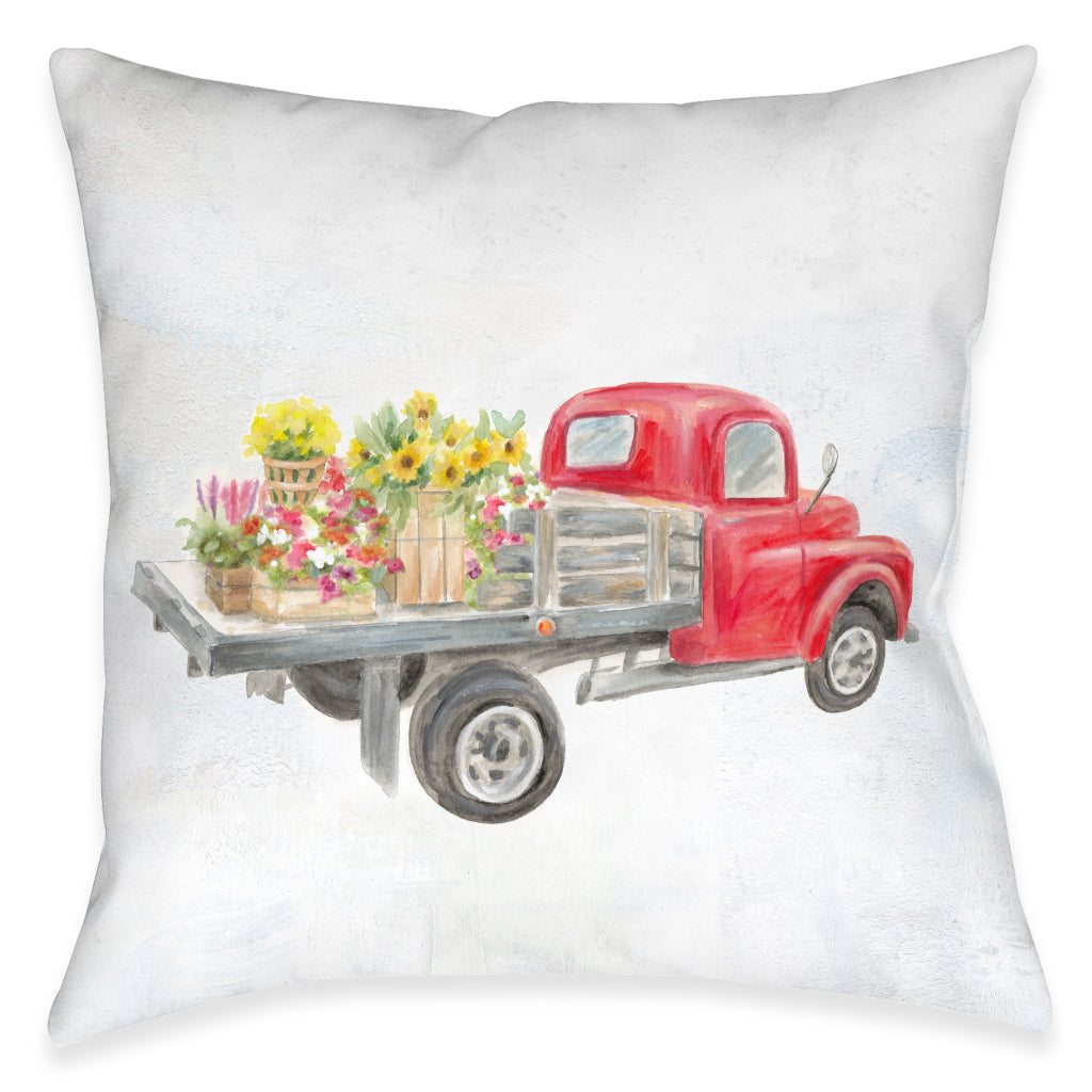 Farmhouse Truck Outdoor Decorative Pillow