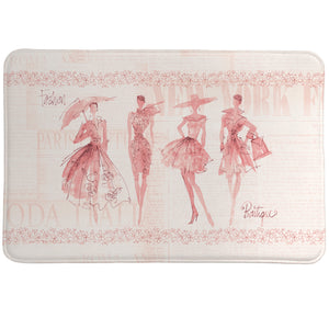 Fashion Sketchbook Pink Memory Foam Rug Watercolor features figures and details are placed over fashion newspaper clippings.
