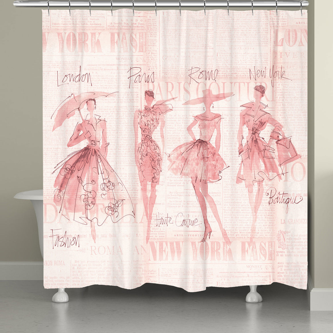 Fashion Sketchbook Pink Shower Curtain