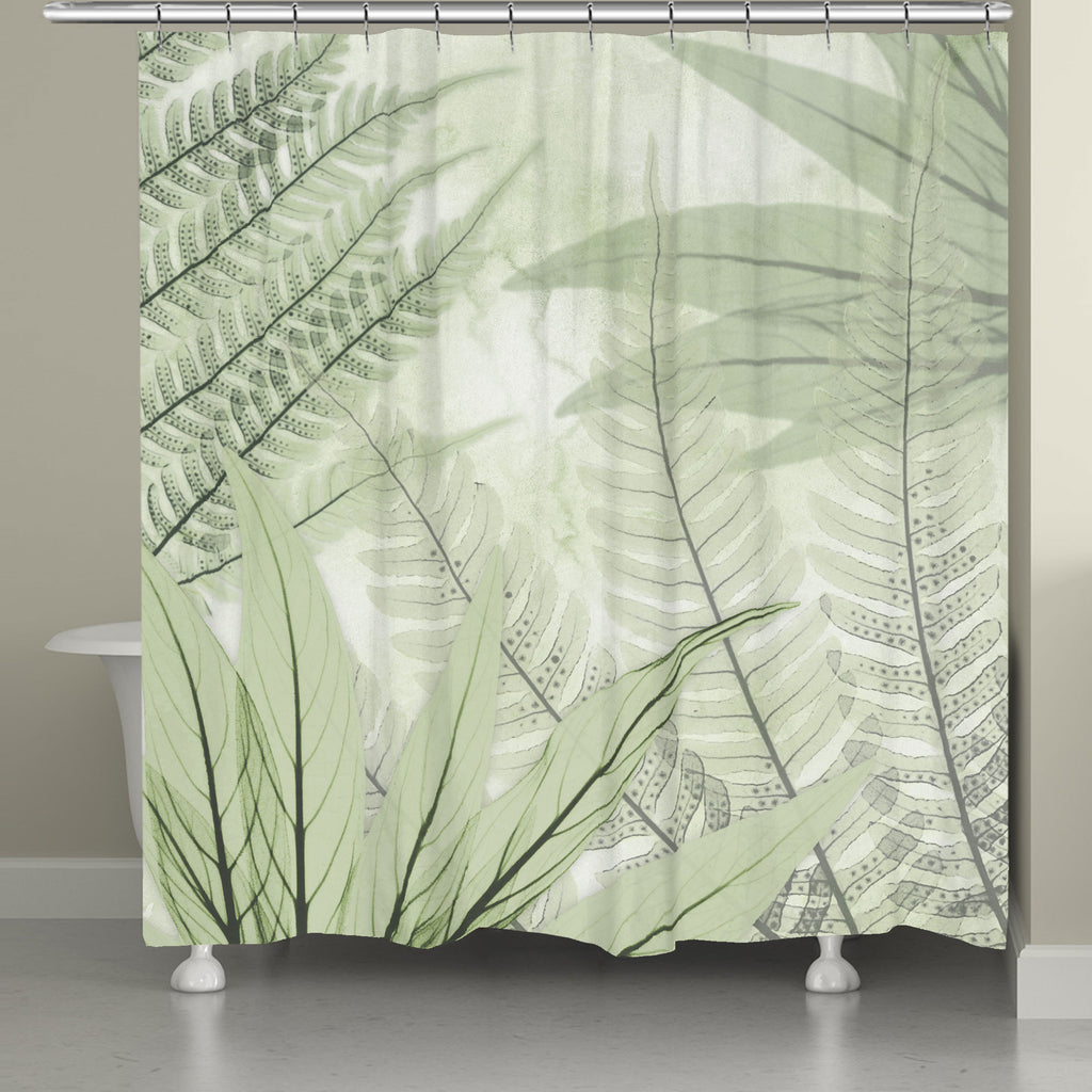 Translucent X Ray Ferns Shower Curtain