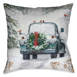 Vintage Holiday Pickup Indoor Decorative Pillow