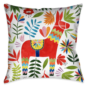 Fun Fiesta Animal Pillow displays colorful animal and flower design motif